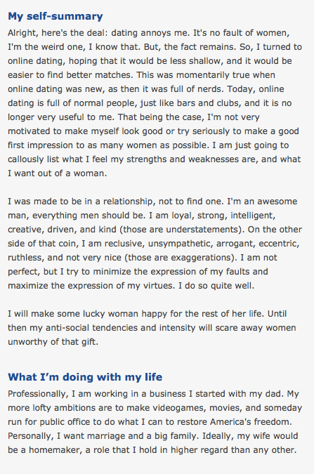 examples of self descriptions for a dating site